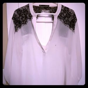 Off white blouse with lace cutouts